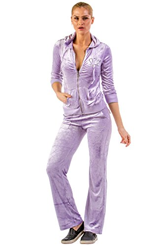 VERTIGO PARIS Women's Embroidered Logo Velour Lounge Tracksuit Jog Set - Purple - Large (Tracksuit Logo)