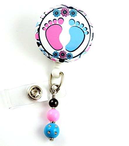 Nurse Baby Feet NICU - Nurse Badge Reel - Retractable ID Badge Holder - Nurse Badge - Badge Clip - Badge Reels - Pediatric - RN - Name Badge Holder