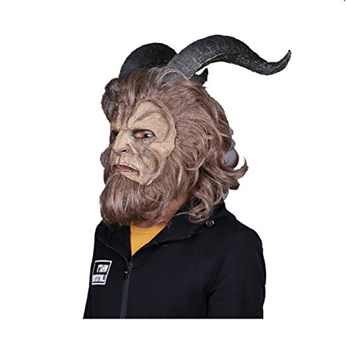 [Thegood88 Beauty And the Beast Mask Prince Cosplay Horror 2017 Halloween Helmet Wig Props TG0395] (Adam Eve Costumes Halloween)