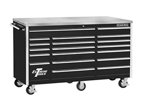 Storage Gloss Box High (Extreme Tools EX7218RCBK 18-Drawer Triple Bank Roller Cabinet In Ball Bearing Slides, 72-Inch, Black High Gloss Powder Coat Finish)