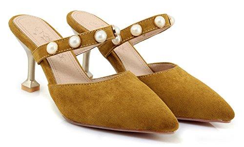Aisun Donna Slip On Sandali Con Scivolo - Tacchi A Spillo Decorati Con Perline - Punta Chiusa A Punta Tacco Alto Sera Giallo