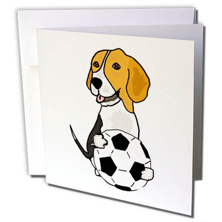 "3dRose Funny Cute Beagle Puppy Dog Playing Soccer - Greeting Card, 6"" x 6"", Single (gc_255649_5)"