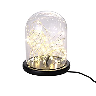 Desktop Decorative Cloche Warm White String Lights Table Lamp with 5 Lighting Mode for Christmas Valentine's Day party Indoor Decoration