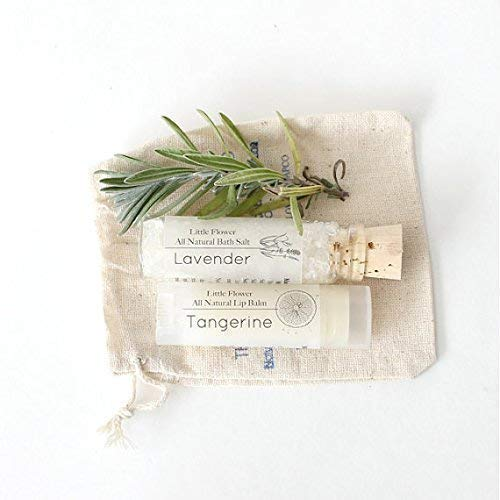 Mini Spa Set, Natural Lip balm and Bath Salt in Drawstring Bag
