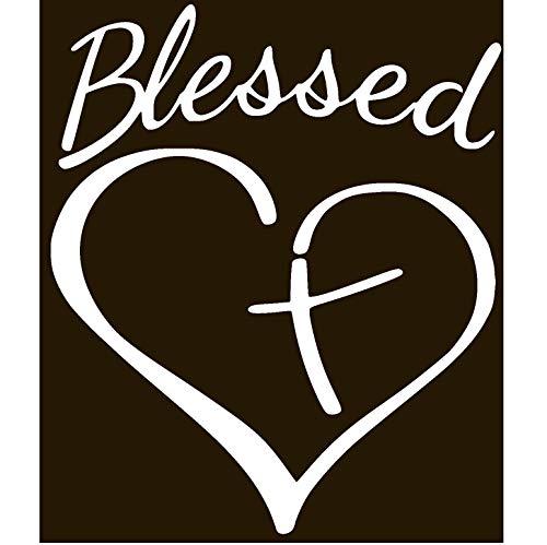 TTNT CHRISTIAN CROSS BLESSED HEART Vinyl Sticker Decal (3.4