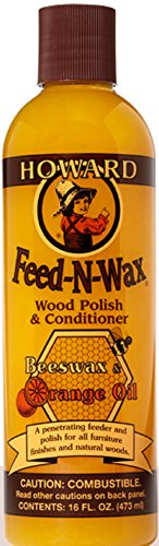 Howard Products FW0016 Feed-N-Wax Wood Polish and Conditioner, Beeswax & &, 16 oz, orange, 16 Fl -