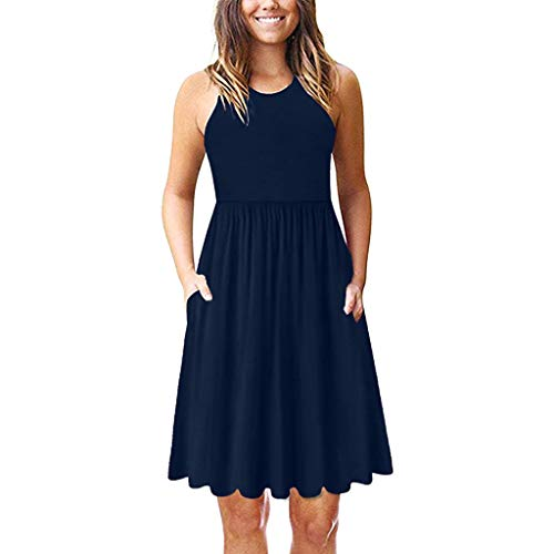 (Alimao Womens Dresses Summer Tie Front V-Neck Spaghetti Strap Button Down A-Line Backless Swing Midi Dress Women's Casual Elegant A Line Short Cap Sleeve Round Neck Dress Navy)