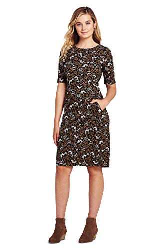 (Lands' End Women's Ponte Knit Sheath Print Dress with Elbow Sleeves, 14, Black/Cameo Floral)