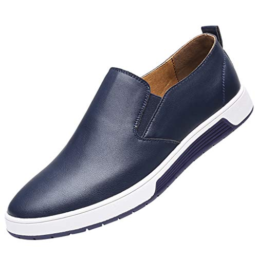 Price comparison product image Mens Leather Loafers and Slip On, SMALLE Fashion Leather Shoes Breathable Casual Non-Slip Driving Walking Shoes Blue