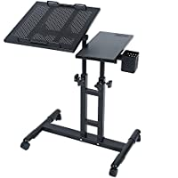 Adjustable Height Rolling Laptop Desk Table Computer Desk Over Sofa Bed Table Tattooing Work Cart (black) from Redscorpion