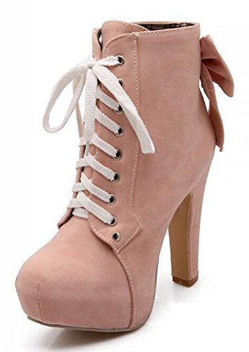 Chfso Femmes Sexy Solide À Bout Rond Lace Up Bow Haute Chunky Talon Plate-forme Martin Bottine Rose