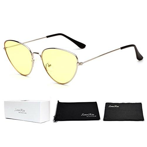 SamuRita Thin Frame Butterfly Tinted Cat Eye Sunglasses New Designer Shades(Yellow Lens/Silver - Frame Sunglasses Yellow