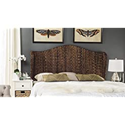 Bedroom Safavieh Home Collection Nadine Brown Winged Headboard, King farmhouse headboards