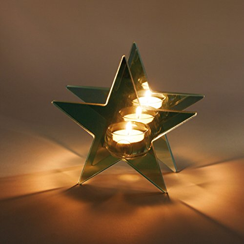 Contento 4028126169506 Reflections Mirror Glass tealight Star Shaped Candle Holder, One Size, Silver
