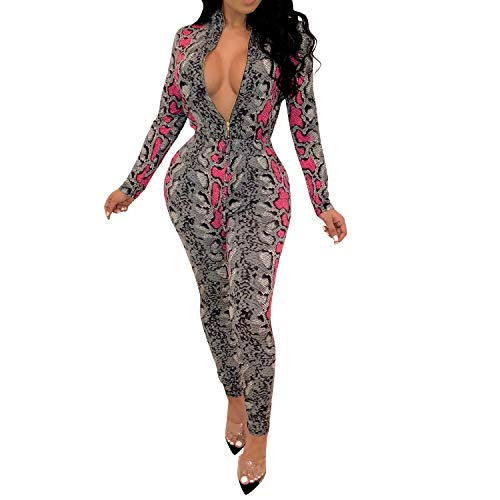 Skin Jumpsuit - Jumpsuits for Women Long Sleeve V Neck Zipper Snake Skin Floral Bodycon Long Pants Rompers Sexy Playsuits Rose Red 2X-Large