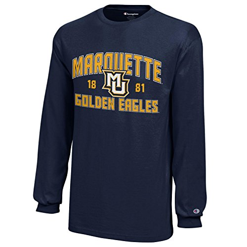 NCAA Marquette Golden Eagles Youth Boys Champion Long sleeve Jersey T-Shirt, Large, Navy