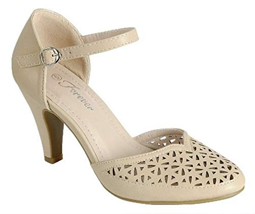 Mary Jane Pumps Feminine Cut-Outs Low Kitten Heels Vintage Retro Inspired Shoe with Ankle Strap, Taupe Beige, 6.5 -
