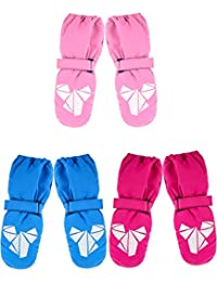3 Pairs Winter Kids Snow Mitten Unisex Waterproof Ski Warm Gloves for Kids Aged 4-8 Years (Color Set 2)