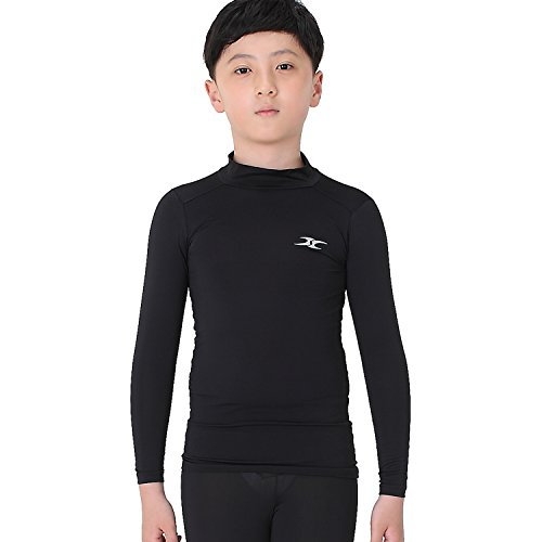 Kids junior SKIN tight Compression Under Base Layer sports Armor Long shirts LK BK M -