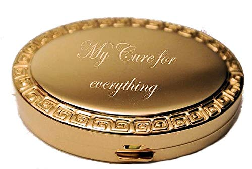 Design Oval Gold (Personalized Gold Oval Greek Design Pill Box with Mirror Inside Engraved Free)