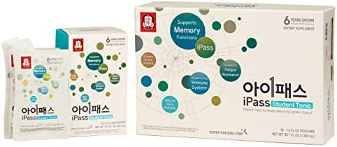 KGC Cheong Kwan Jang [i-Pass Student Tonic] Organic Korean Red Ginseng Tonic for students on Mental Performance and Concentration - (30 Count)