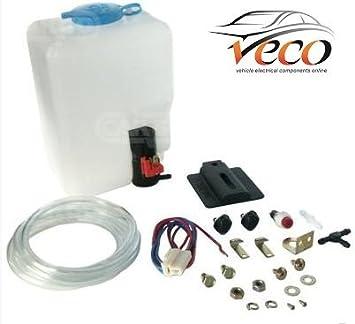 160186 - Kit universal de lavado de limpiaparabrisas de 12 V, con botella, bomba y accionador: Amazon.es: Coche y moto