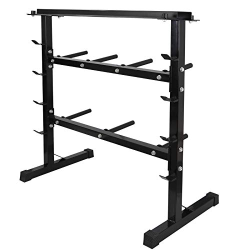 F2C 2 Tier 40″ Barbell Dumbbell Weight Plate Rack Weights Storage Organizer Stand Bench Base for Home Gym