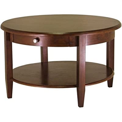 1 Drawer Round Coffee Sofa Table, Sturdy Wood Construction, Lower Shelf For  Extra Storage