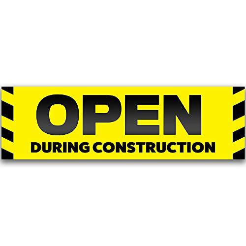 - Open During Construction Vinyl Banner 10 Feet Wide by 3 Feet Tall