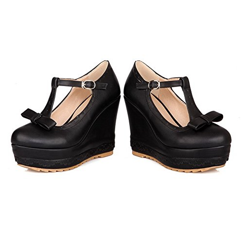 Solid Heels Women's Pumps High Pu Shoes Buckle Black Toe WeiPoot Round Closed 6xSwR00qH