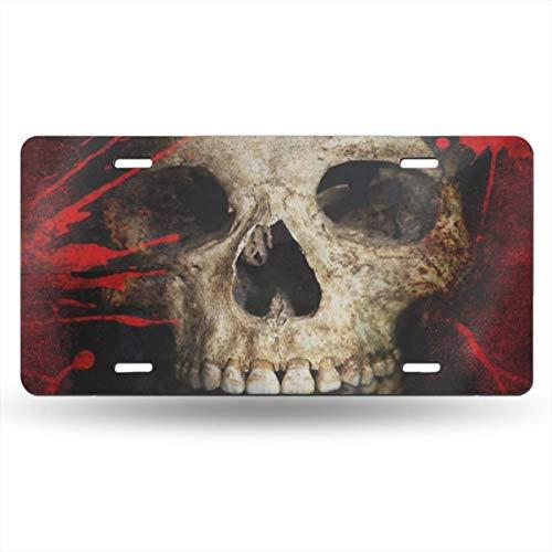 DERTYV License Plate Frame Custom Halloween Skull Blood Metal Signs Car Cover Set Custom Personalized for Car Decoration -
