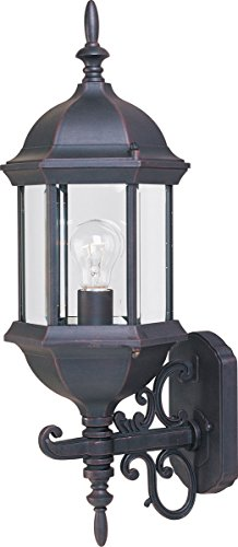 Maxim 1072CLEB Builder Cast 1-Light Outdoor Wall Mount, Empire Bronze Finish, Clear Glass, MB Incandescent Incandescent Bulb , 60W Max., Dry Safety Rating, Standard Dimmable, Glass Shade Material, 6048 Rated -