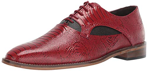 STACY ADAMS Men's Ricoletti Exotic-Print Oxford, Red and Black, 9.5 M US