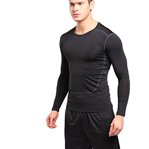 BS Mens Compression Shirt Long Sleeve Running Fitness Workout Base Layer Quickly Dry Sports (Heatgear Mens Full T-shirt)