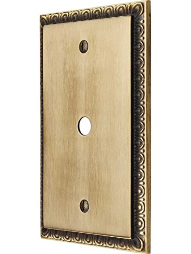 egg dart single gang cable outlet cover plate in antique by hand finish brass wall plates. Black Bedroom Furniture Sets. Home Design Ideas