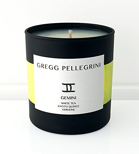 Scented Candle • Paraffin Free All Natural Coconut and Beeswax • White Tea • Kyoto Quince • Verveine • Gemini Zodiac • 230 g / 8 Oz. • Hand Poured in the USA