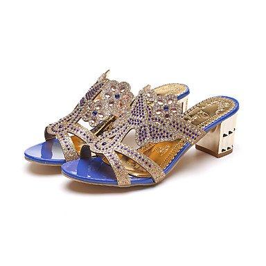 LvYuan Tacón Robusto Tacón Cuña-Confort Innovador-Sandalias-Vestido Informal Fiesta y Noche-Semicuero-Negro Azul Beige Blue