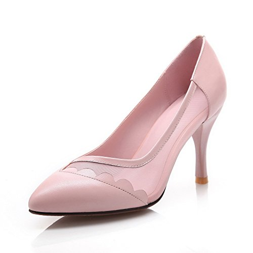 Toe Pointed Spikes Shoes Pumps Stilettos On Material Solid Closed Women's Pink Pull WeiPoot Soft ZFn8vFAq