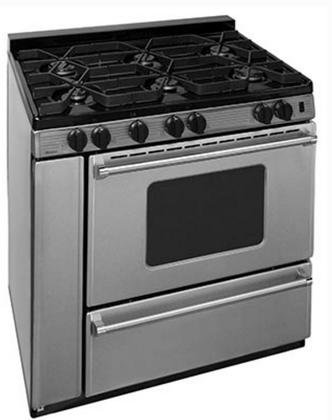 Premier P36S3182PS 36'' Pro Series Gas Range with 6 Sealed Top Burners Separate Broiler Compartment 17 000 BTU Oven Burner Heavy Duty Cast Aluminum Griddle Storage Compartment and In