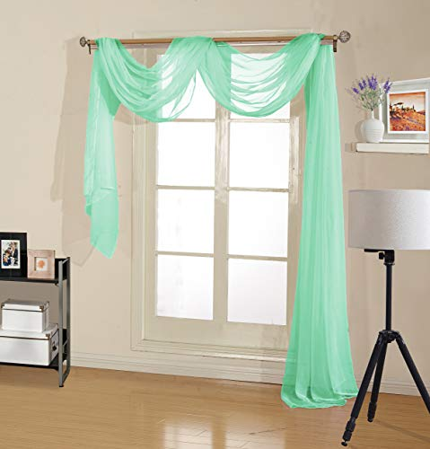 Treatments Window Swags (Decotex Premium Quality Sheer Voile Scarf Valance for Home & Event Designs (54