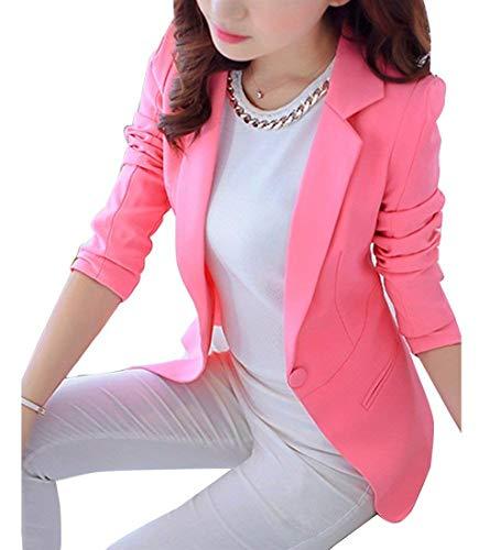 Blouson Femme Fashion Elgante Affaires Party Blazer Printemps Automne Manches Basic Longues Revers Slim Fit Casual Office Veste Manteau de Costume Unicolore Vetement Pink