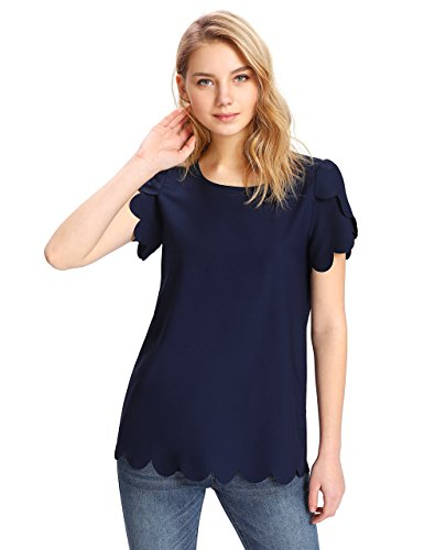 Floerns Women's Solid Scallop Hem Round Neck Short Sleeve Blouse Tops