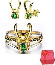 Loki Ring Set, Loki Ear Studs, 3-in-1 Detachable Thor Ring, Loki Helmet Shape Jewelry, Loki Rings for Women Me