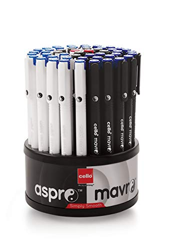 Cello Aspro Mavro Ball Pen Set (Bulk Pack of 50 pens with Stand- Assorted)