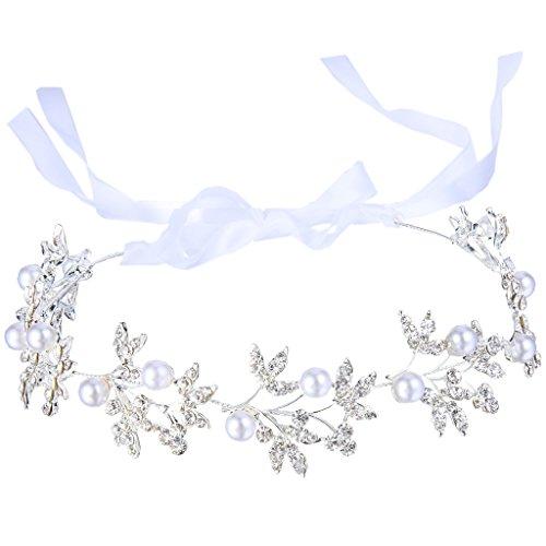 BriLove Women's Bohemian Bridal Olive Leaf Romantic Bendable Ribbon Tie Headband Hair Vine Accessory Simulated Pearl Silver-Tone Delicate Vine Design
