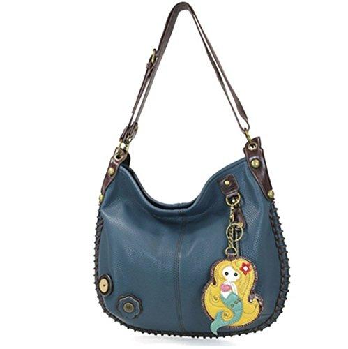 Chala Purse Handbag Leather Hobo Cross Body Convertible Mermaid Blue Bag
