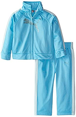 PUMA Baby Girls' Jacket and Pant Tricot Set , Fresh Turquoise, 12 Months (Cheetah Print Pumas)