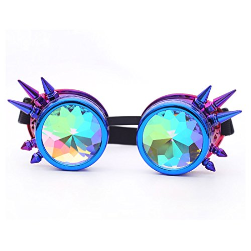 FIRSTLIKE 3-5 Days Delivery,Kaleidoscope Rave Goggles Steampunk Glasses with Rainbow Crystal Glass Lens