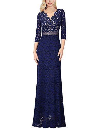 VFSHOW Womens V Neck Floral Lace Keyhole Back Formal Evening Maxi Dress 1018 BLU XL