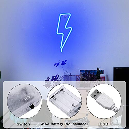 Ifreelife Lightning Neon Signs Led Neon Wall Sign Bolt Neon Lights USB Charging/Battery Operated Night Light Home/Kids' Room/Bar/Christmas/Wedding Party Decorative Lights